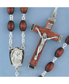 Oval Wood Beads Rosary