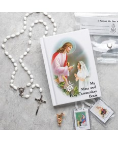 First Communion Missal Set for Girls with Plastic Wallet