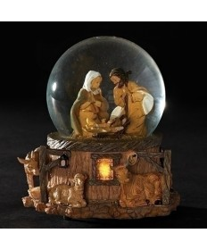 "Fontanini Musical Nativity Gliterdome 5.75""H"
