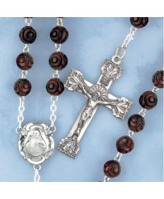 Genuine Brown Coco Beads Sterling Silver Rosary