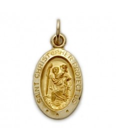 "14Kt Gold St Christopher Medal (3/8"" Tall)"