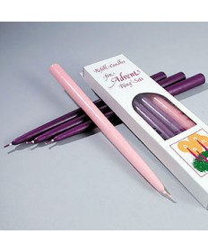 "Advent Taper Candle Set 7/8"" x 11"" - 3 Purple / 1 Pink"