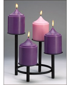 "Advent Stand with Black Wrought Iron Finish 4-Tiered 10"" dia"