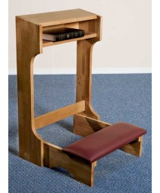Silk-Screened Classic Padded Kneeler with Pecan Stain and Cutouts