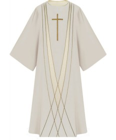Dalmatic in Dupion Fabric by Slabbinck - White