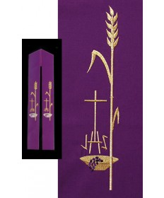 Overlay Stole with IHS, Wheat and Cross Embroidery by Beau Veste