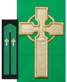 Overlay Stole with Celtic Cross Embroidery by Beau Veste