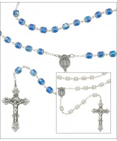 7 mm Glass Capped Aurora Glass Beads Rosary