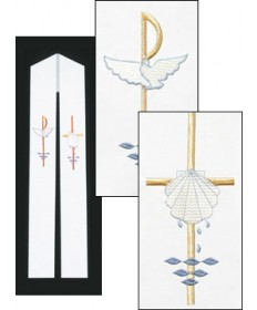Overlay Stole with Baptismal Symbols Embroidery by Beau Veste