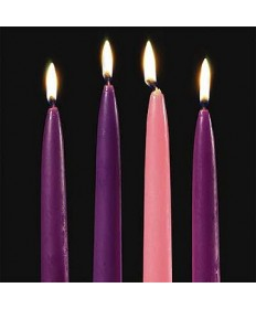 """Advent Taper Candle Set 3/4"""" x 10"""" - 3 Purple / 1 Pink"""