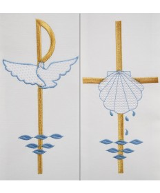 Deacon Stole with Baptismal Symbols Embroidery by Beau Veste