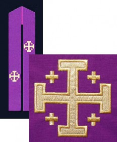 Overlay Stole with Jerusalem Cross Embroidery by Beau Veste
