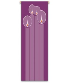 Inside Church Banner Advent Candles