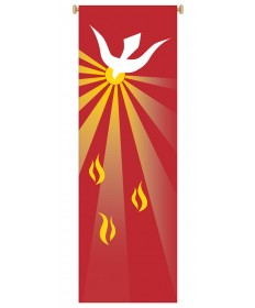 Inside Church Banner Holy Spirit and Flames