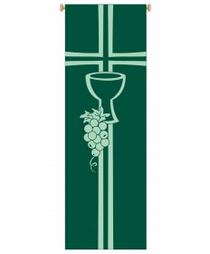 Inside Church Banner Chalice and Grapevine