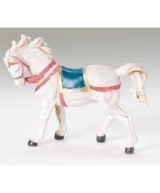 "Fontanini 5"" White Horse with Saddle Blanket"