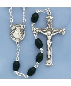 Polished Oval Boxwood Beads Sterling Silver Rosary