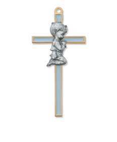 "5.5"" Cross with Pewter Praying Boy"