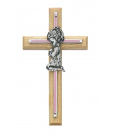 "7"" Oak Cross with Pewter Praying Girl"