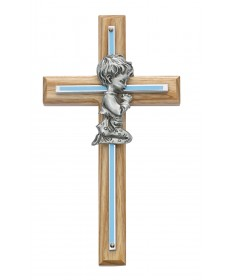 "7"" Oak Cross with Pewter Praying Boy"