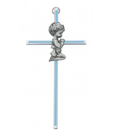 "6"" Cross with Pewter Praying Boy"