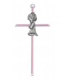 "6"" Cross with Pewter Praying Girl"