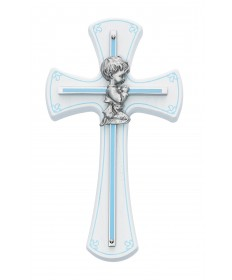 "7"" White Cross with Pewter Praying Boy"
