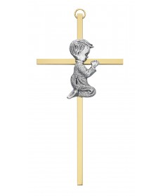 "6"" Two-Tone Cross with Praying Boy"