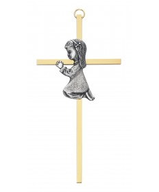 "6"" Two-Tone Cross with Praying Girl"