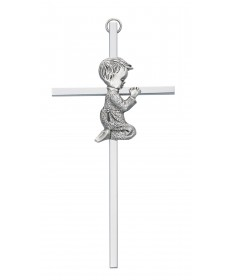 "6"" Silver Cross with Praying Boy"