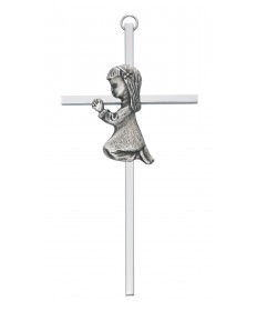"6"" Silver Cross with Praying Girl"