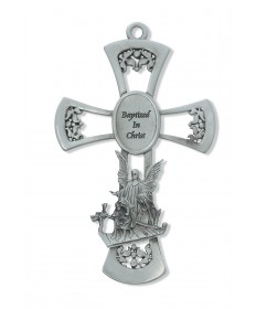 "6"" Pewter Cross - Guardian Angel"