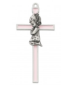 "5"" Cross with Pewter Praying Girl"