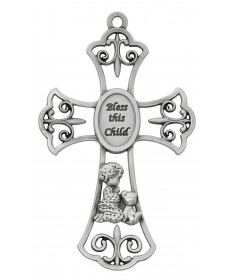 "6"" Pewter Cross with Praying Boy"