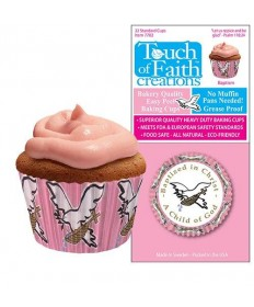 Cupcake Paper - Baptized in Christ, A Child of God (Pink)