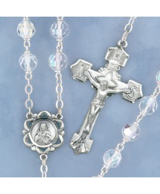 Czech Tincut Crystal Sterling Silver Rosary