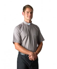 Clergy Shirt by MDS - Grey Short Sleeve
