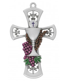 "First Communion Cross 6"" Pewter with Enamel"