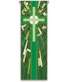 Inside Church Banner Mosaic Green Cross