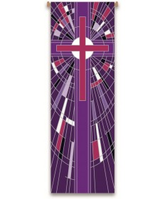 Inside Church Banner Mosaic Purple Cross
