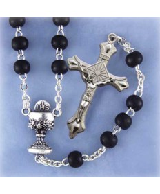Black Glass Beads Rosary for the First Holy Communion