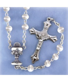 First Communion Girl's Rosary - White Cats Eye