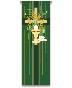 Inside Church Banner Chalice and Hosts - Green