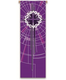 Inside Church Banner Crown of Thorns - Purple