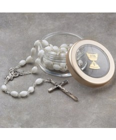 First Communion Rosary with Rosary Box Set