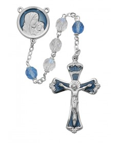 7mm Mother and Child Blue and Crystal Rosary