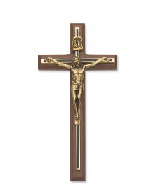 "10"" Walnut Wood Crucifix with Black/Gold Overlay"