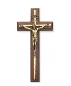 "10"" Walnut Wood Crucifix with Gold Overlay"