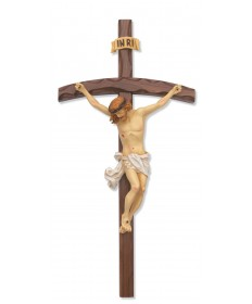 "16"" Walnut Bent Log Wood Crucifix"