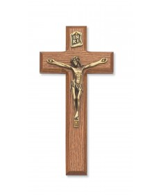 "7"" Walnut Stained Wood Crucifix"